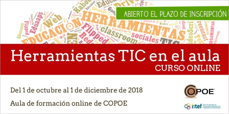 """Curso online """"Herramientas TIC en el aula"""" organizado por COPOE"""